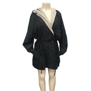 Vintage Black and Green Gallery Coat with Hood